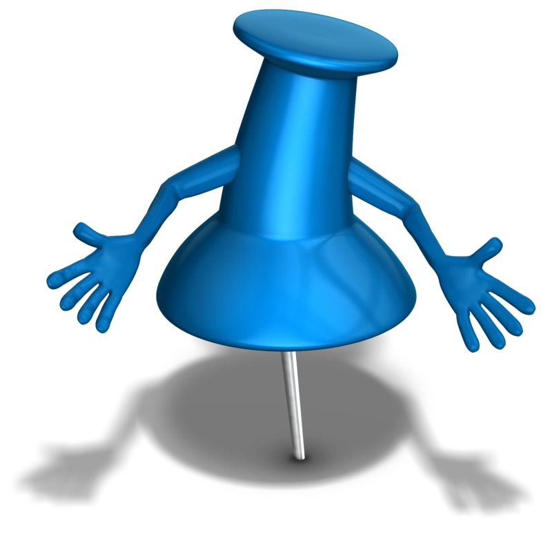Clipart - Thumb Tack Character Hands Out