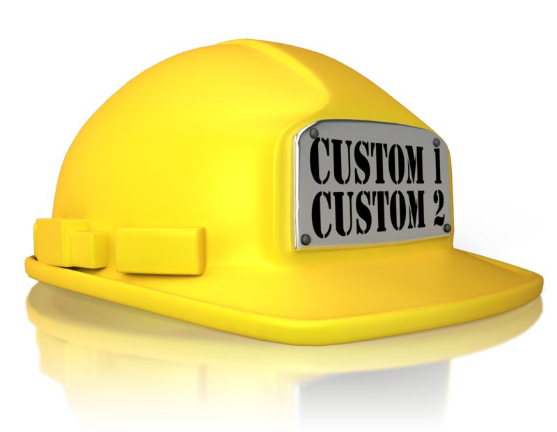 An image of a hard hat with a metal plate on front to put your own custom text.