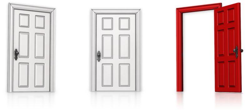 Clipart - Choose Right Door Open