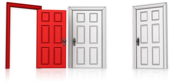 Clipart - Choose Left Door Open
