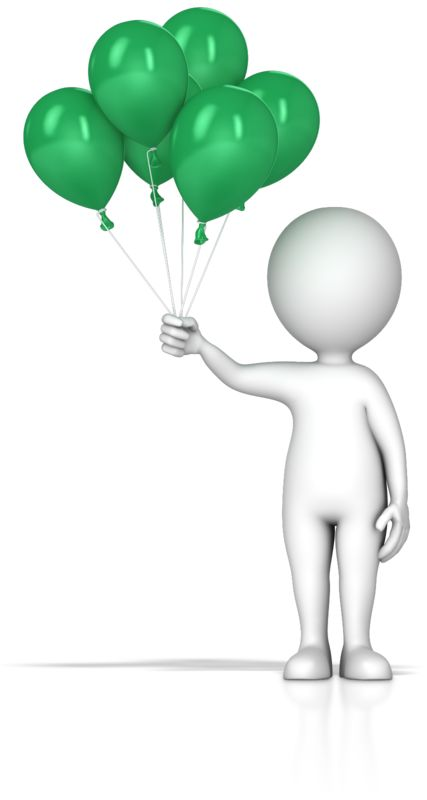 Clipart - Figure Holding Balloons