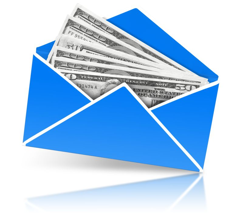 Clipart - Envelope Open With Money