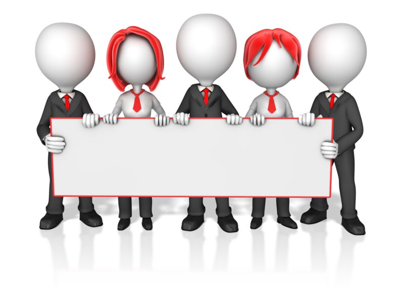 Clipart - Business Worker Group Holding Long Sign