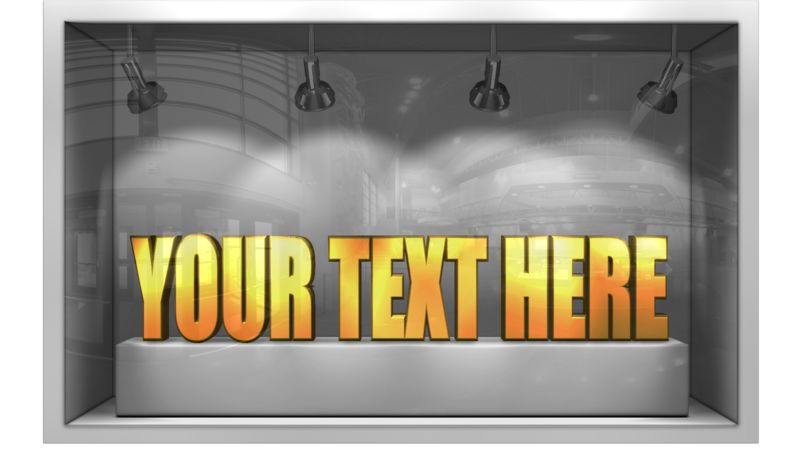 This clip art image shows a glass widow display where you can replace the 3D text with your own words.