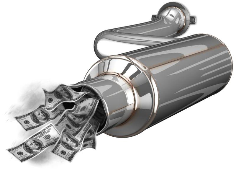 Clipart - Exhaust Waste Money