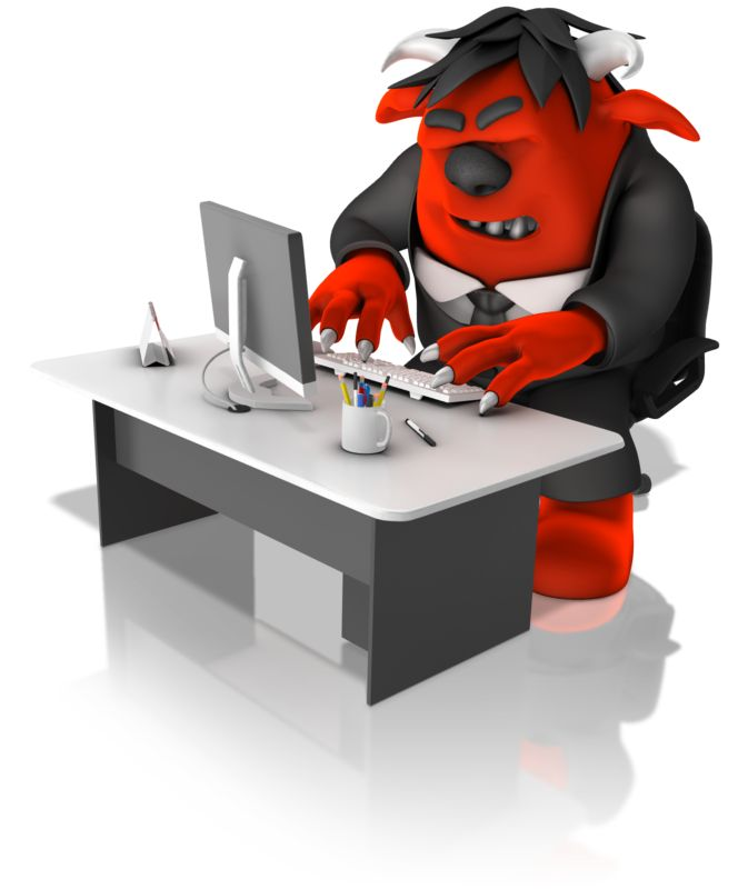 Clipart - Monster Employee Working On Computer