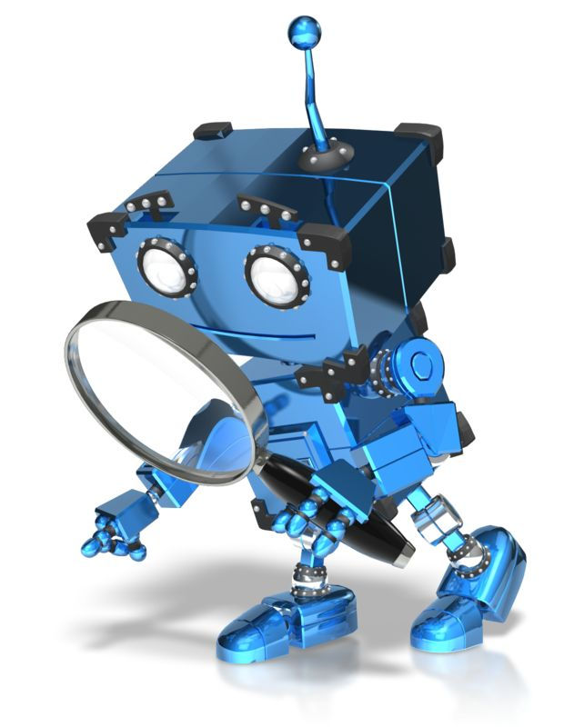 Clipart - Boxy Robot Searching