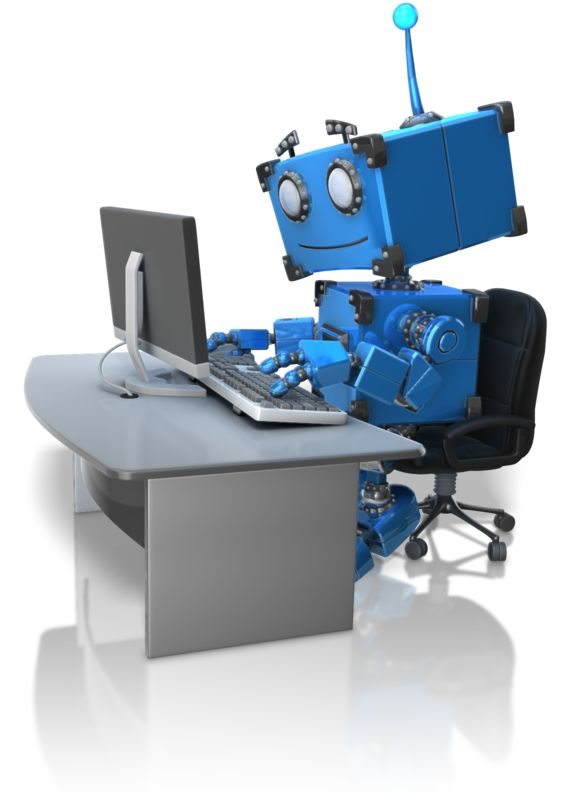 Clipart - Robot Working At Desk