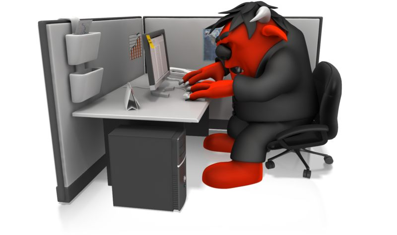 Clipart - Monster Working In Cubical