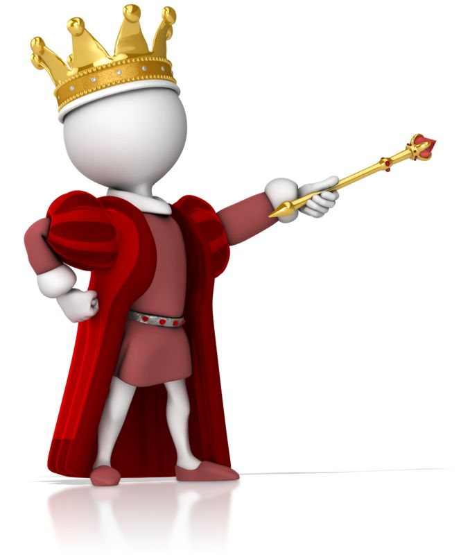 Clipart - King Figure Standing Strong Pointing