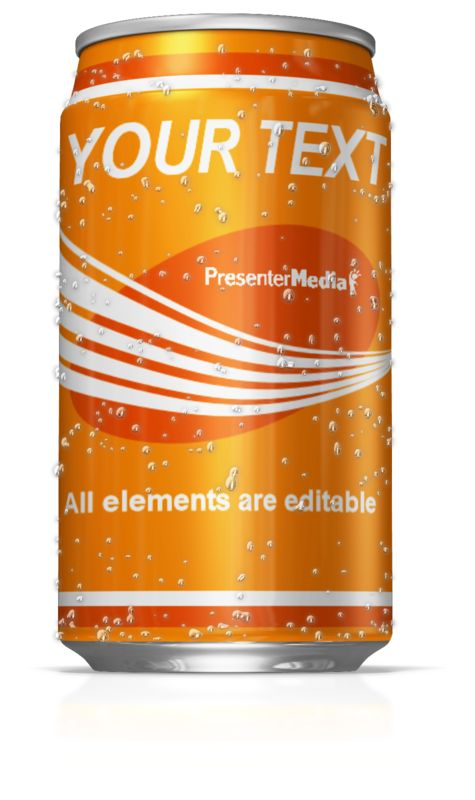 This clip art image shows a cold soda pop can with condensation on the outside.  You can customize this clip art by adding your own images and text.