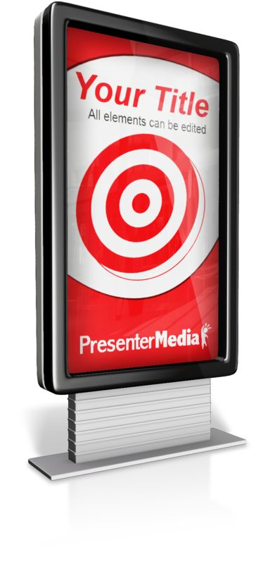This Presentation Clipart shows a preview of Verticle Custom Advertisment Sign