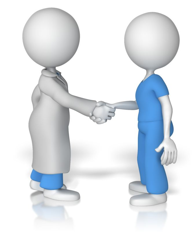 Clipart - Doctor Shake Hands With Nurse
