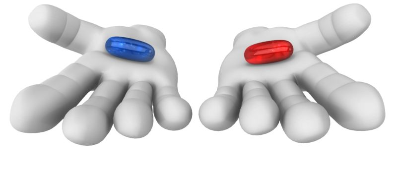 Clipart - Give Red or Blue Pill Choice