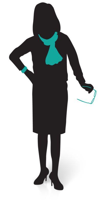 Clipart - Businesswoman Silhouette Glasses