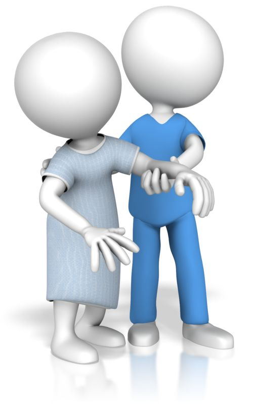 Clipart - Medical Worker Helping Patient Walk