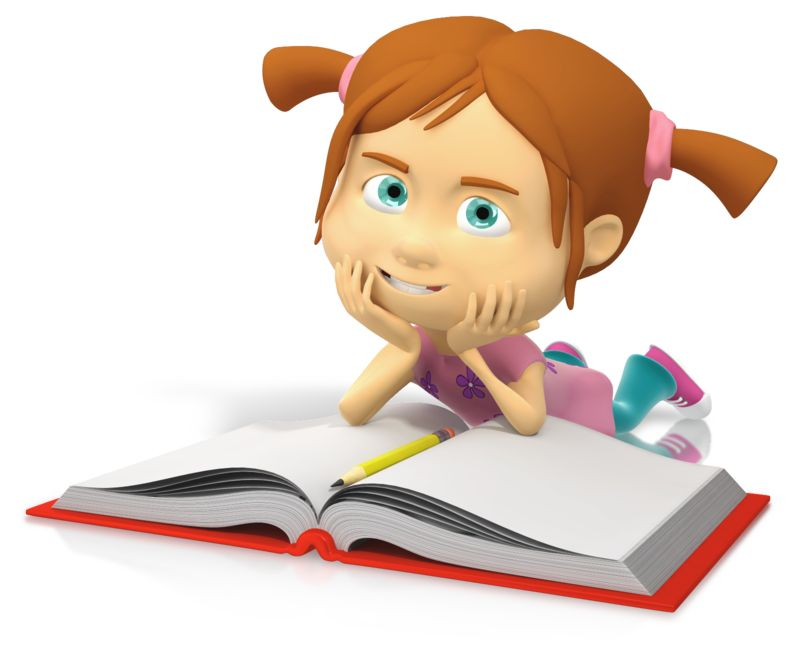 Clipart - Young Girl Reading Book
