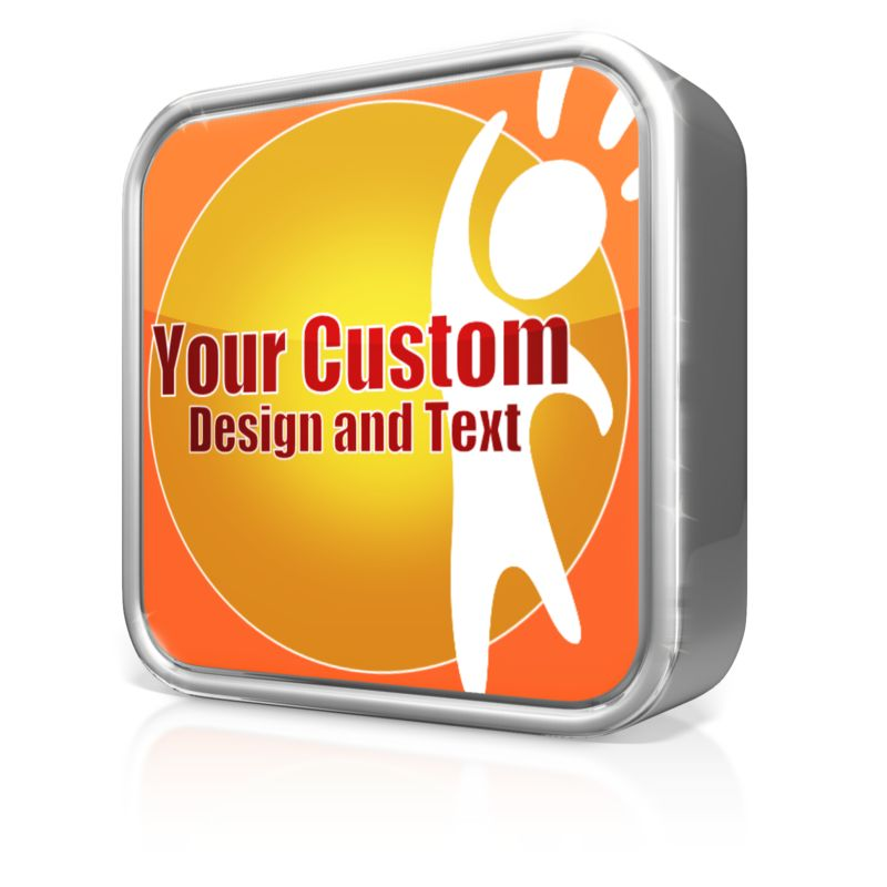 This custom clip art image shows a shinny app icon which you can customize with your own text and images.