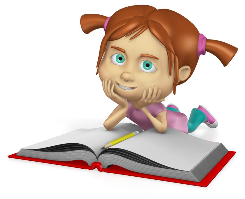 An custom image of a young girl studying a book.