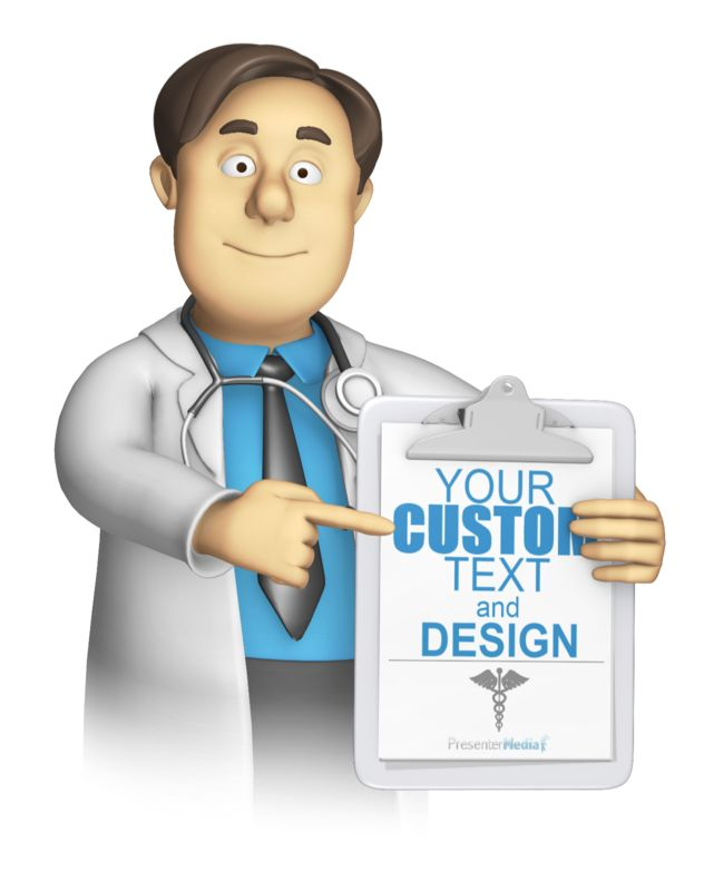 This custom clip art image shows a doctor or nurse character holding and pointing a clipboard where you can add your own text and images too.