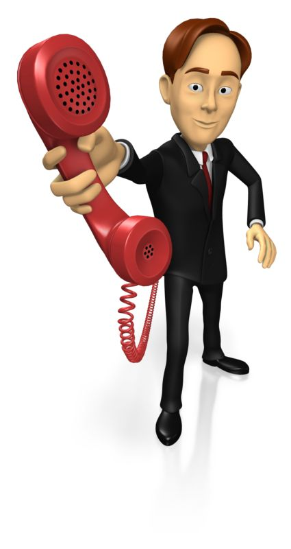 A business guy holds up a phone. The colors in this clip-art can be customized.