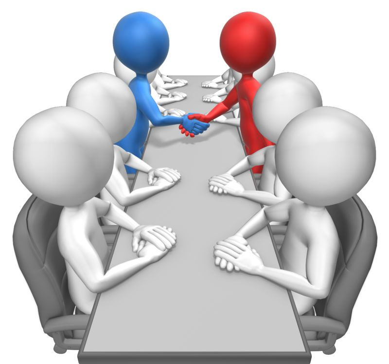 Customize the color of the two figures shaking hands in this clip-art of a business meeting.