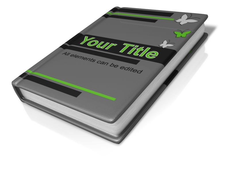 This custom clip art image shows a book displayed laying down. <br><br> You can fully customize the design of this clip art by adding your own images and text.