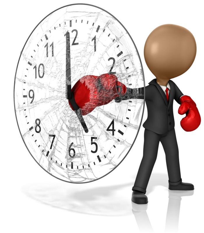 Clipart - Business Boxer Punching Out Clock