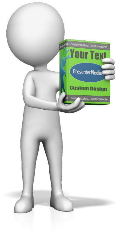 This Presentation Clipart shows a preview of Figure Holding Product Box