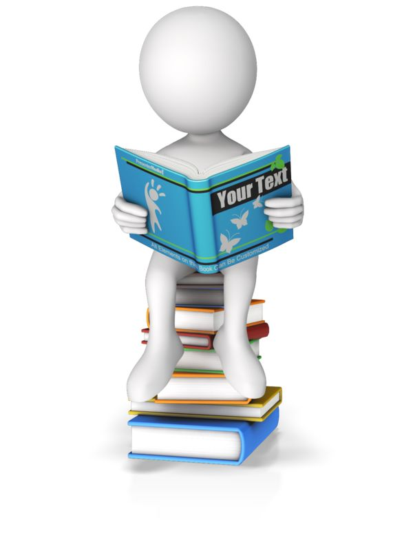 This Presentation Clipart shows a preview of Sitting On Books Reading Custom Book