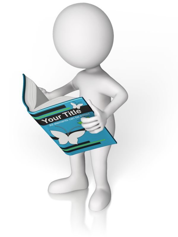 This Presentation Clipart shows a preview of Figure Holding Custom Book Reading