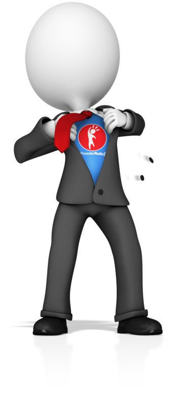 This custom clip art shows a business figure ripping open its suit to reveal a superhero costume underneath.  You can customize the costume area with your own text or image.