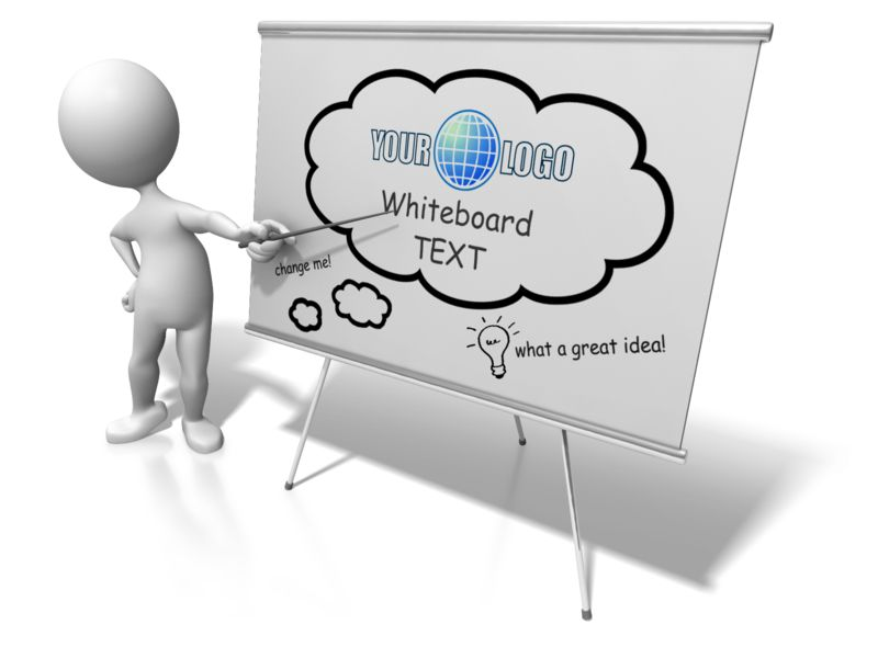 An image of a stick figure holding a pen pointing at a blank board.  The dry erase board has spots for you to add your own text and design.