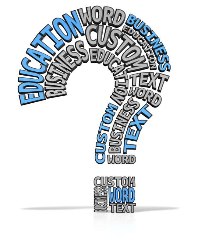 This custom clip art image shows a question mark made up of customizable words.