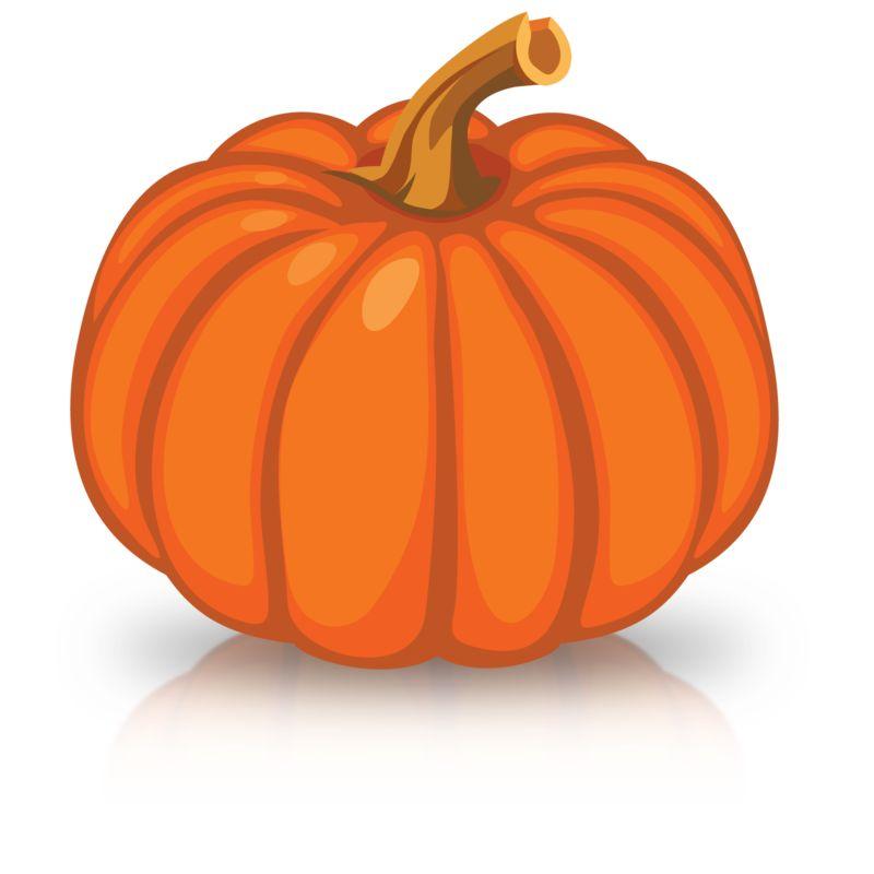 Clipart - Single Orange Pumpkin