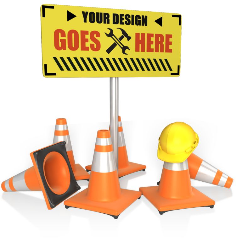This Presentation Clipart shows a preview of Custom Construction Sign