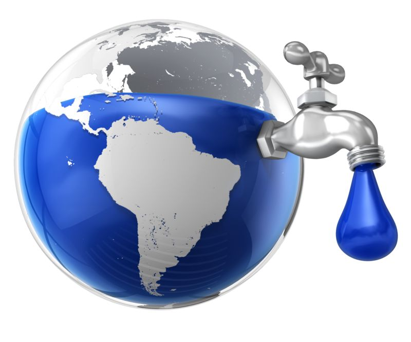 Clipart - Dripping Water Faucet in the Earth