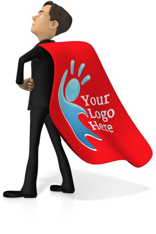 This custom clip art image shows a superhero business man standing strong with a cape.  You can customize the cape to have your own logo.