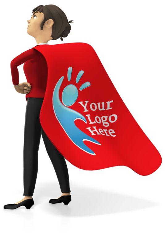 This Presentation Clipart shows a preview of Businesswoman Superhero Custom Cape