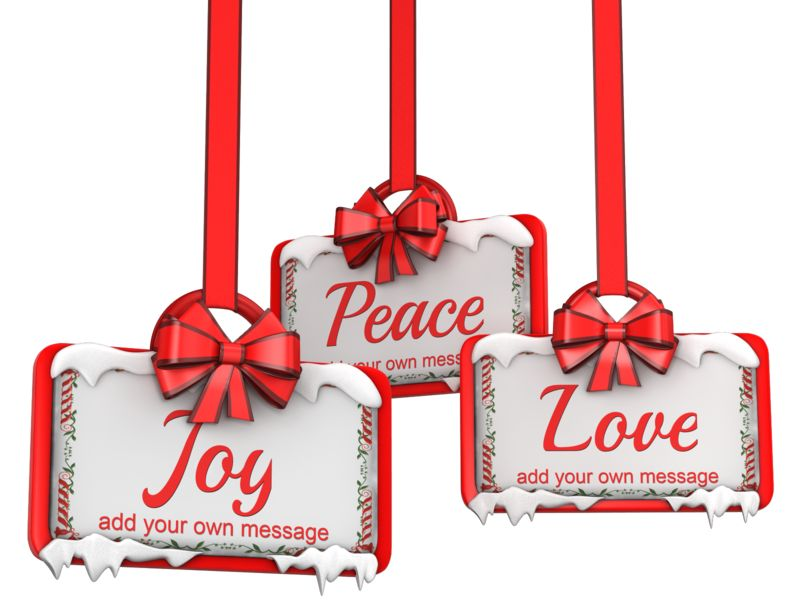 This Presentation Clipart shows a preview of Three Hanging Holiday Ribbon Signs