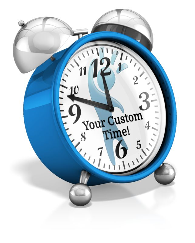 This custom design clip art shows an alarm clock which you can change the clocks hands to your own time.  Click the CUSTOM YOUR MESSAGE tab to edit the clocks hands or add your own logo on the clock using the Add Image feature in the custom tool area.