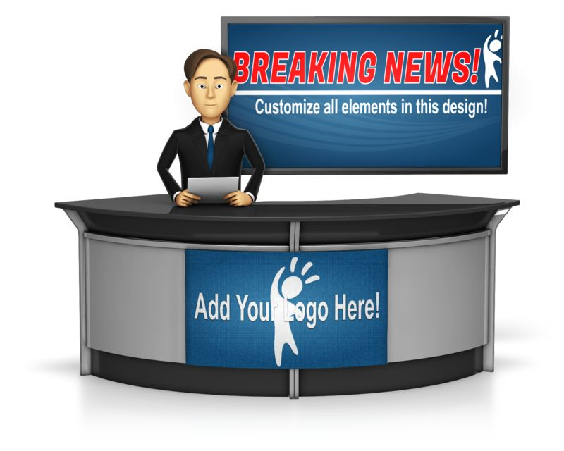 This custom design image shows a male news anchor sitting at a desk with a large screen in the background.