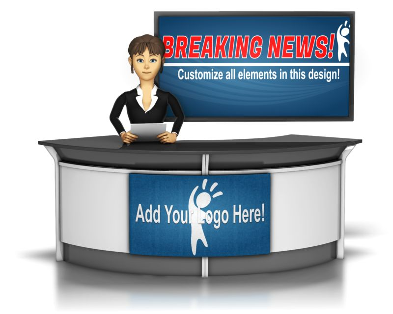 This custom design image shows a female news anchor sitting at a desk with a large screen in the background.