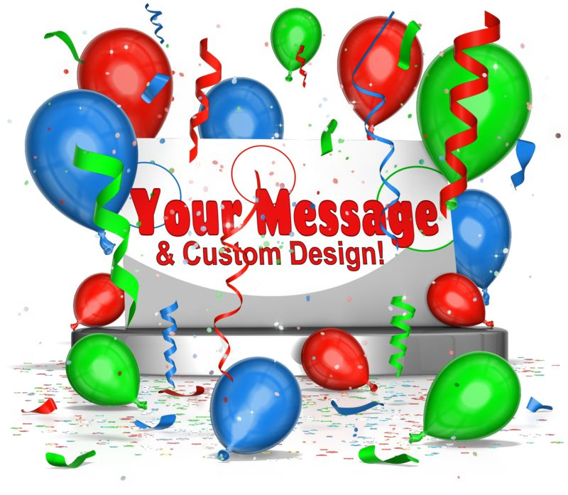 This custom design image shows a card sitting on a pedestal with balloons and confetti falling around it.  You can customize the design and change/add text with your own words.  The three colors of balloons can be changed to any color you choose!
