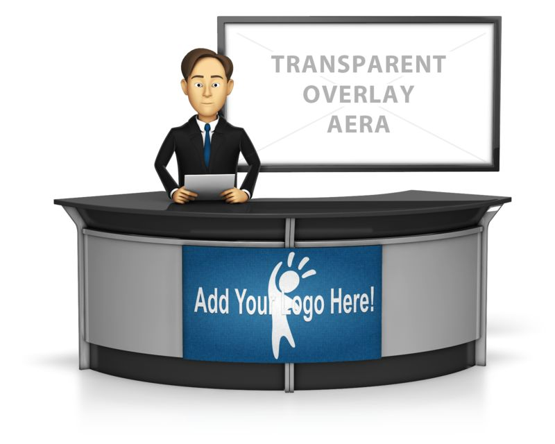 This Presentation Clipart shows a preview of Male Anchor with Transparent Screen Behi