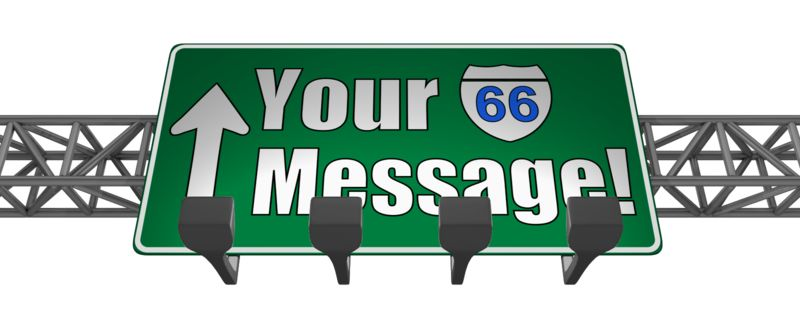 This Presentation Clipart shows a preview of Overhead Freeway Custom Sign