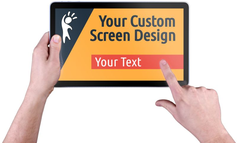 This Presentation Clipart shows a preview of Hands Touch Tablet Custom