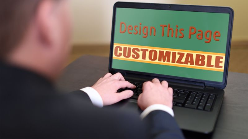 This Presentation Clipart shows a preview of Business Person On Computer Custom