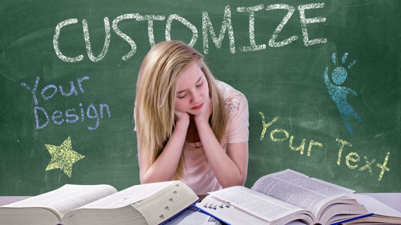This Presentation Clipart shows a preview of Teen Girl Study Chalkboard Custom
