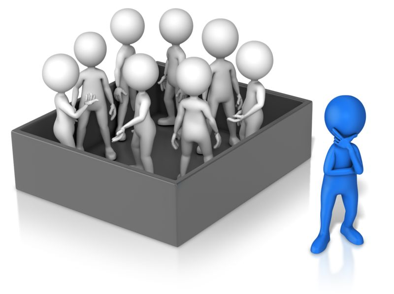 Clipart - Figure Thinking Outside Group In Box